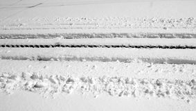 Railway track cover with snow Royalty Free Stock Photos