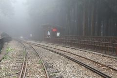Railway Track Covered by Fog. At Alishan National Park, Taiwan Stock Image