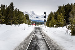 Railway Track covered in Snow Stock Photos