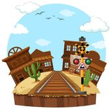 Railway track in the cowboy town. Illustration Stock Image
