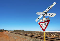 Railway Track And Crossing Sign Royalty Free Stock Photos
