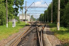 Railway track. Crossing railway tracks Royalty Free Stock Photos