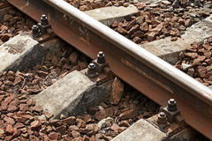 Railway track details closeup Stock Photo