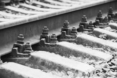 Railway track details, closeup photo Royalty Free Stock Images