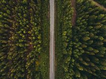 Railway track in forest seen from the sky, northern Finland stock image