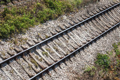 Railway track on gravel substrate Royalty Free Stock Image