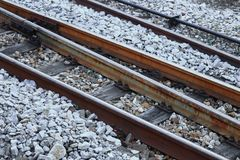 Railway track on gravel for train transportation with copy space add text. Railway track on gravel for train transportation: Select focus with shallow depth of Stock Photo
