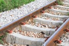 Railway track on gravel for train transportation.  Stock Photos