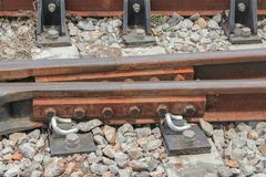 Railway track on gravel  for train transportation. Select focus with shallow depth of field Stock Image