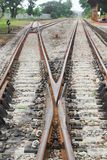 Railway track on gravel for train transportation. Railway track on gravel  for train transportation: Select focus with shallow depth of field Royalty Free Stock Photo