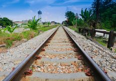 Railway track on gravel for train transportation select focus with shallow depth of field.  Royalty Free Stock Photos