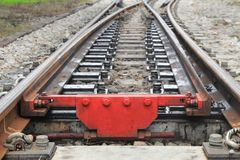Railway track on gravel for train transportation with copy space add text. Railway track on gravel for train transportation: Select focus with shallow depth of Royalty Free Stock Images