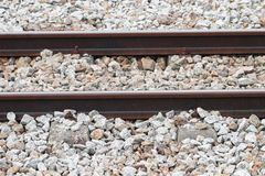 Railway track on gravel for train transportation with copy space add text. Railway track on gravel for train transportation: Select focus with shallow depth of Royalty Free Stock Photography