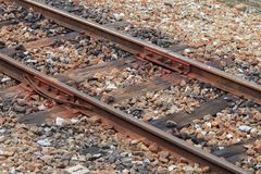 Railway track on gravel for train transportation with copy space add text. Railway track on gravel for train transportation: Select focus with shallow depth of Stock Photos