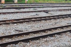 Railway track on gravel for train transportation Select focus with shallow depth of field. Railway track on gravel for train transportation: Select focus with Stock Image