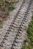 Railway track on gray gravel substrate Stock Image