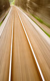 Railway track with high speed motion blur Stock Photo