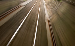 Railway track with high speed motion blur Stock Photos