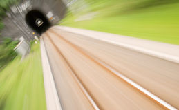 Railway track with high speed motion blur Royalty Free Stock Photos