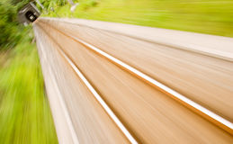 Railway track with high speed motion blur Royalty Free Stock Photo