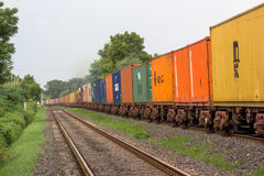 Railway track in India. Broad gauge goods train in the countryside of India Stock Images