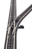 Railway track junction. Right hand junction or stitch of railway track or line, isolated on white background Stock Photo