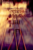 Railway track Junction. With speed motion blur Royalty Free Stock Photo