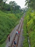 Railway Track - KTM. People walking on KTM railway track in Singapore, taking a final glimpse & photos before it's closure to public Royalty Free Stock Photos