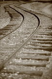 Railway track leading into the unknown Stock Photos