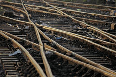 The railway track merging, Set of Points on Railway Train Track Royalty Free Stock Photo