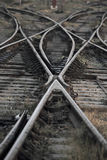 The railway track merging, Set of Points on Railway Train Track Royalty Free Stock Photos