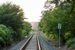 Railway track in the nature Stock Photo