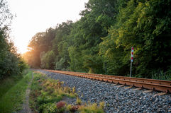 Railway track in the nature Royalty Free Stock Image
