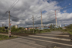 Railway track near Kostov station in spring nice sunny day Royalty Free Stock Images