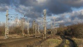 Railway track near town Steti Royalty Free Stock Image