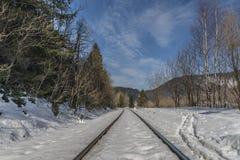 Railway track near village Dedinky Stock Photo