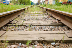 Railway track with old trains Stock Images