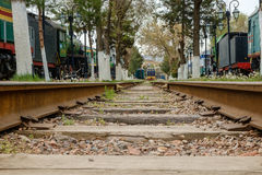 Railway track with old trains Royalty Free Stock Image