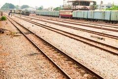 Railway track old transportation. railroad train station.  stock photography