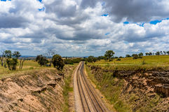 Railway track in outback Australia. Royalty Free Stock Images