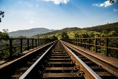 Railway track over countryside bridge Royalty Free Stock Images