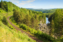 Railway track passing dead falls Royalty Free Stock Photography