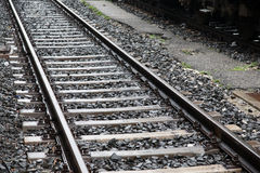 Railway Track and Train Stock Photo