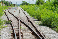 Railway track, railroad junction Stock Photo
