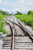 Railway track, railroad junction Royalty Free Stock Images