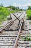 Railway track, railroad junction Stock Image
