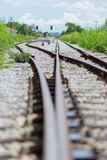 Railway track, railroad junction Stock Photo