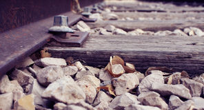 A Railway track (railroad) with small rocks and dry leaves. Zoom in on a Railway track (railroad) with small rocks and dry leaves Stock Images