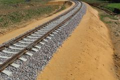 Railway track: rails, sleepers laid through fields, forests for transportation of goods and people. The railway is built of sleepers and rails.Wooden sleepers royalty free stock photo