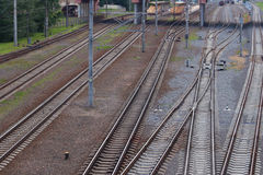 Railway track, rails and sleepers road. Transport technology. Royalty Free Stock Photos